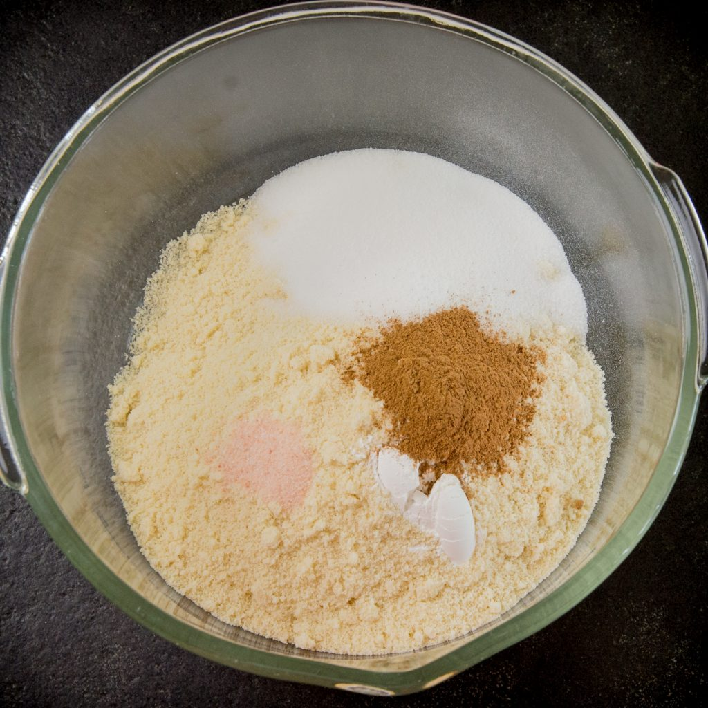 Low Carb Pumpkin Spice Muffins-mixing the dry ingredients.