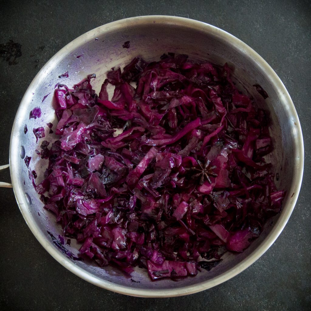 Low-Carb Sweet and Sour Red Cabbage-adding the vinegar.