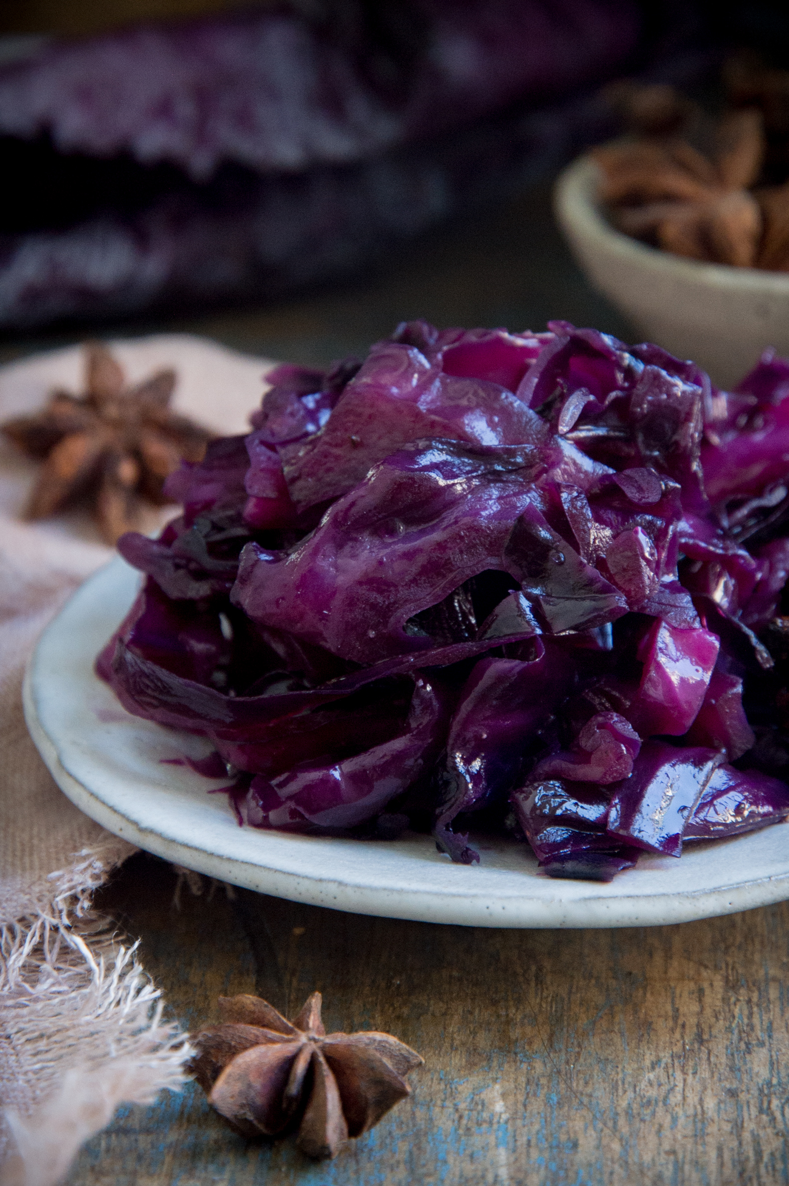Low-Carb Sweet and Sour Red Cabbage-served on a plate.
