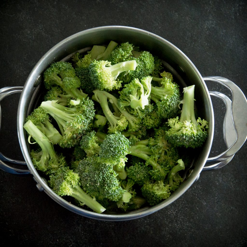 Low-Carb Keto Broccoli Cheese Casserole-steaming the broccoli.