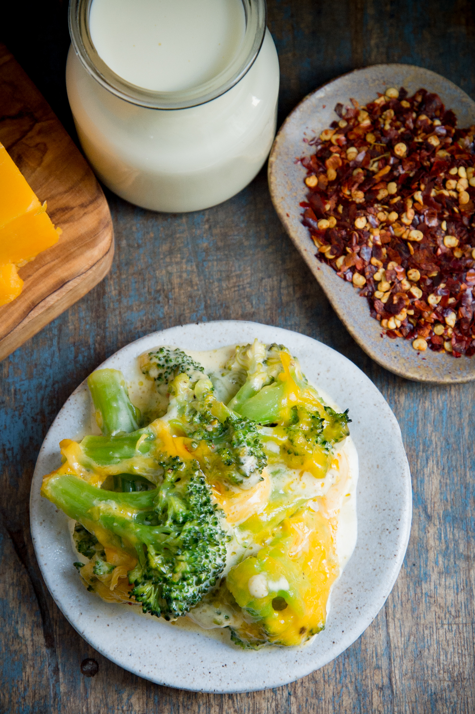 Low-Carb Keto Broccoli Cheese Casserole-overhead view served on a plate.