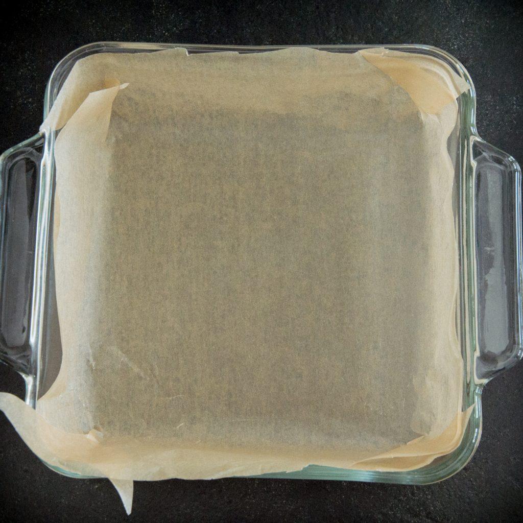 Keto Chocolate Fudge Brownies -Preparing the pan.