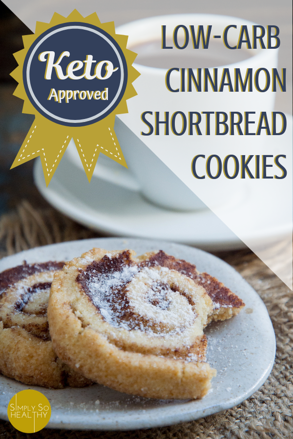 Our recipe for Keto Cinnamon Shortbread Cookies makes buttery cookies with a cinnamon swirl. Perfect for low-carb, diabetic, gluten-free, and keto diets. #ketocookies #ketobaking #ketochristmascookies #lowcarbdessert