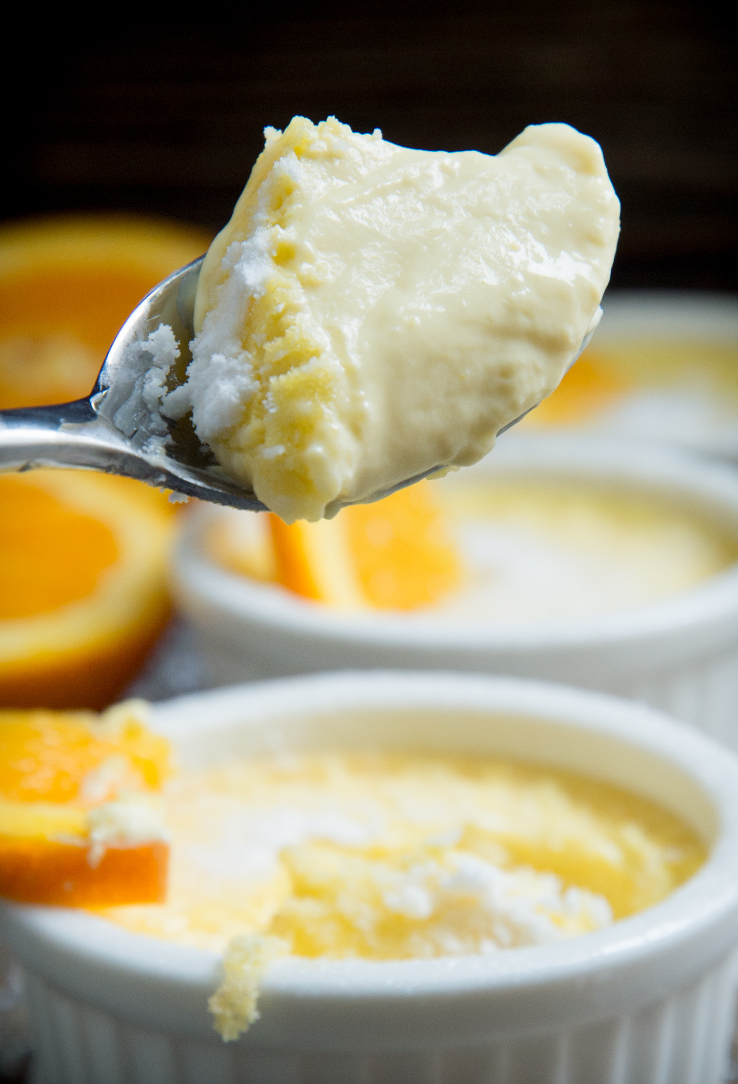 Low-Carb Orange Pots de Crème-close up of custard.