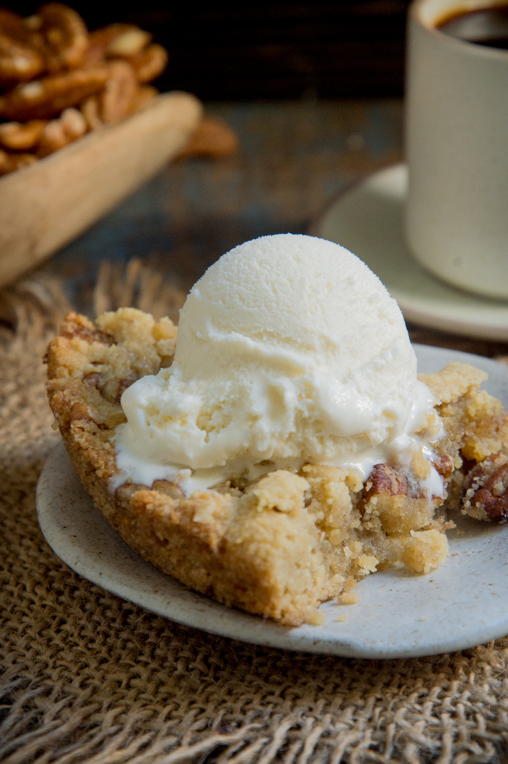 Keto Maple Pecan Blondies-with ice cream on top.