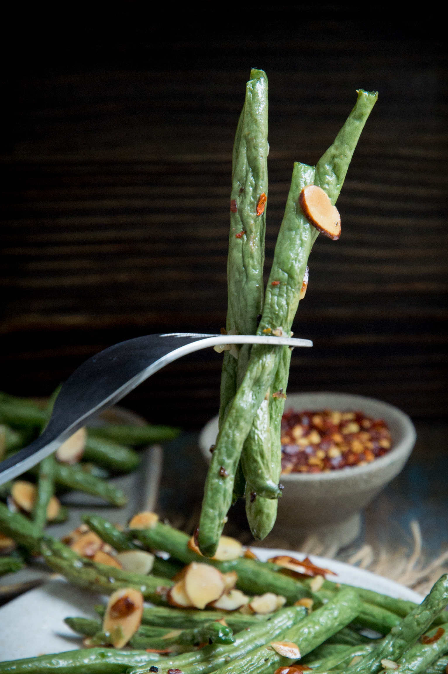 Low-Carb Roasted Green Beans-on a fork.