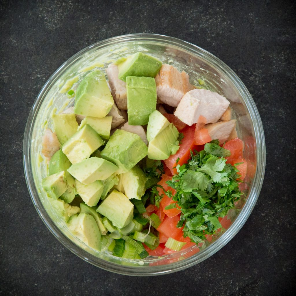 Leftover Turkey Avocado Salad-Adding the rest of the ingredients.
