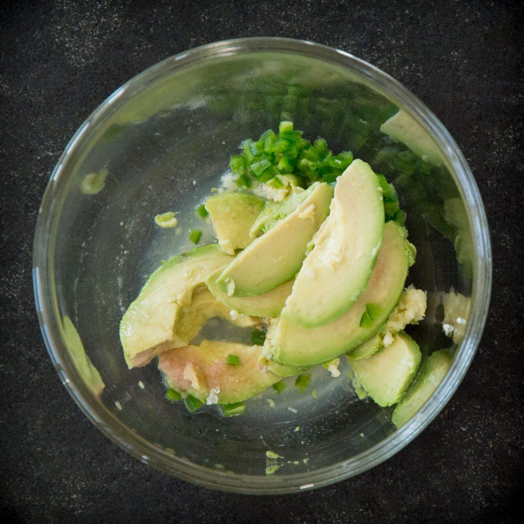 Leftover Turkey Avocado Salad-Making the dressing.