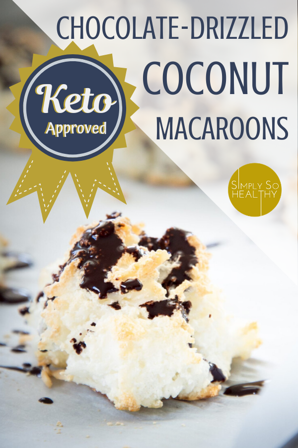 This low-carb chocolate drizzled coconut macaroons recipe make delicious cookies perfect for low-carb, diabetic, keto, or Atkins diets. Easy recipe! #ketococonutmacaroons #ketocookies #ketochristmascookies #lowcarbcookies #lowcarbcoconutmacaroons