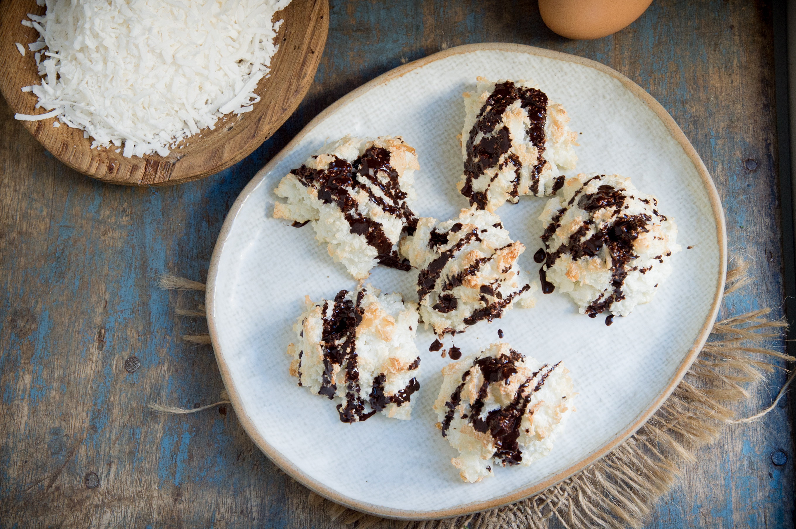 The Best Keto Chocolate Drizzled Coconut Macaroons