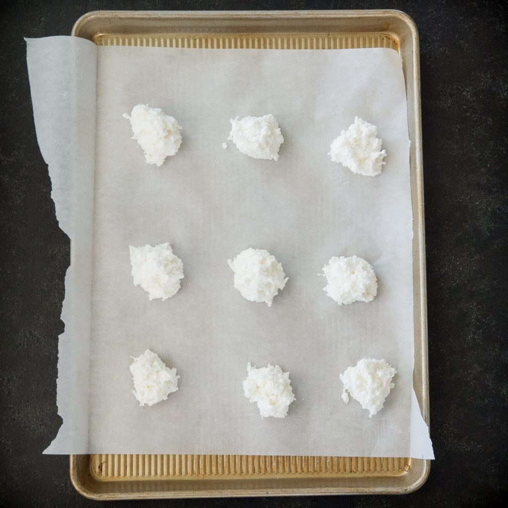 Ready to bake the Keto Coconut Macaroons in the oven.