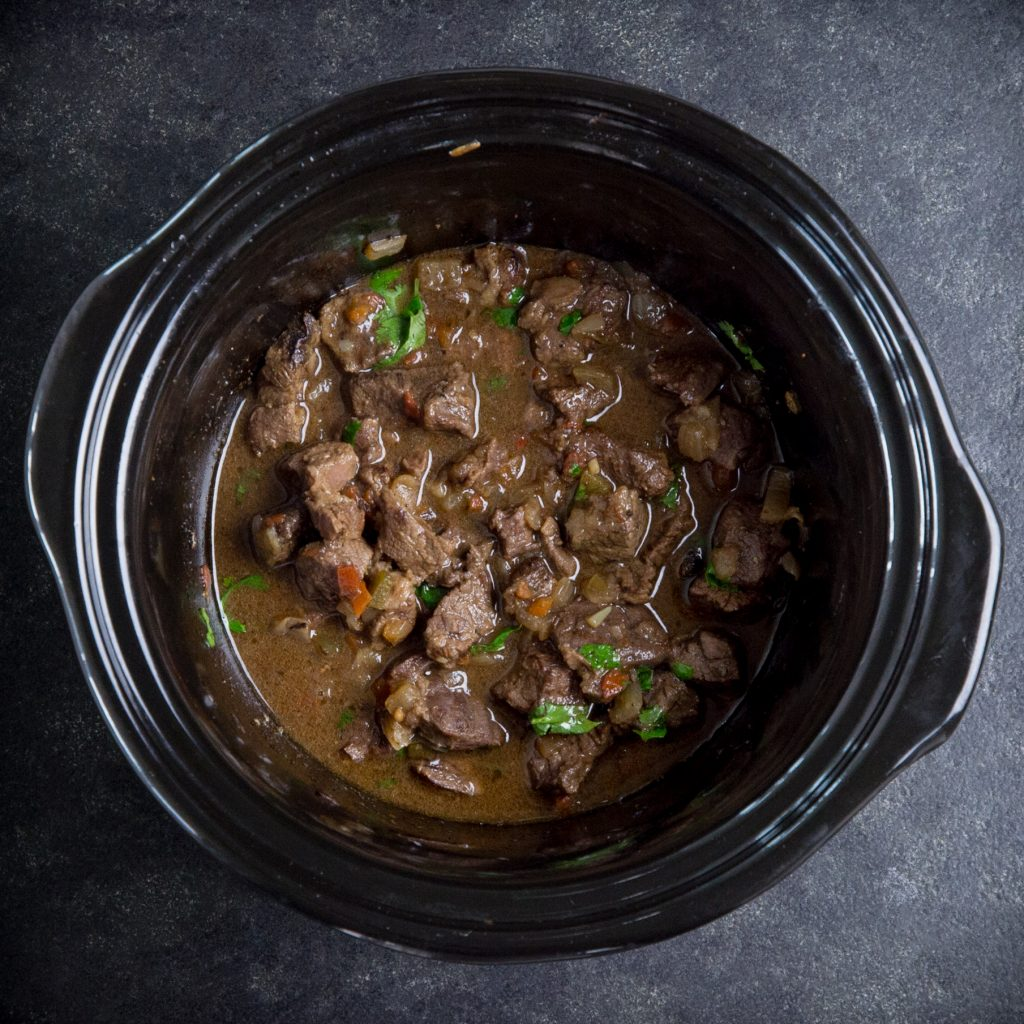 Low-Carb Slow Cooker Mexican Beef Stew-Adding the cilantro.