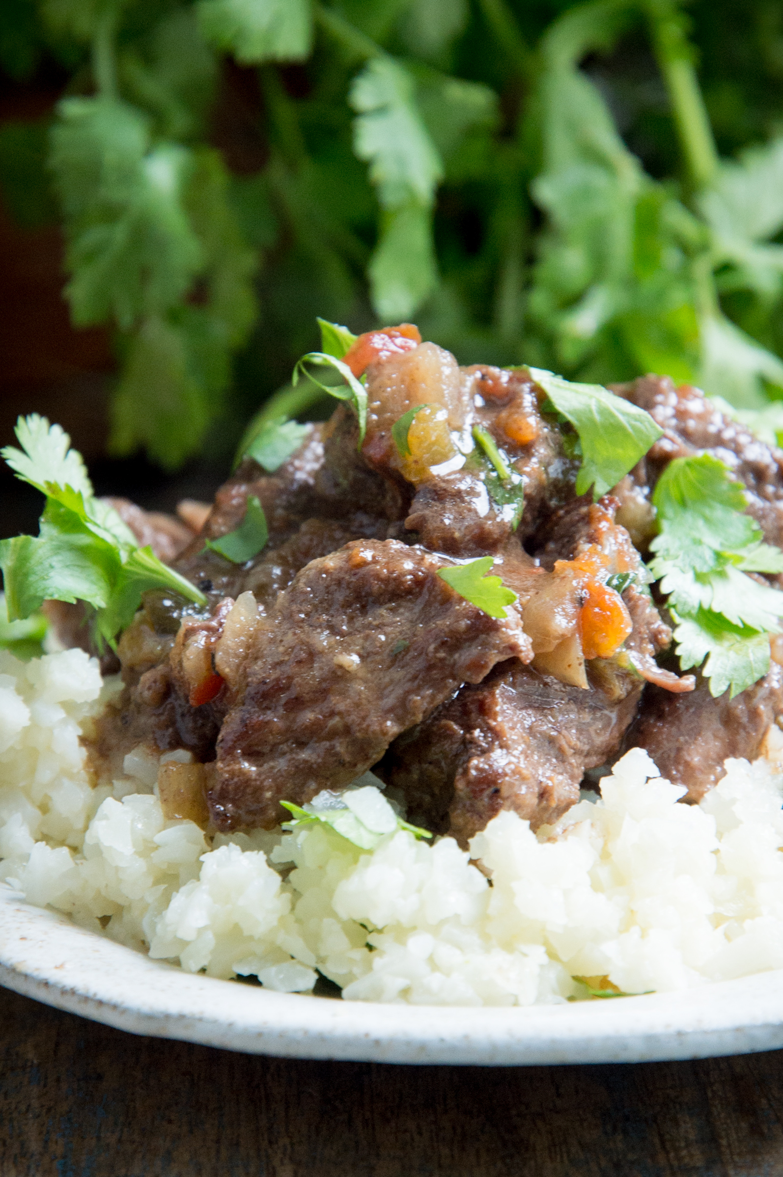 Low-Carb Slow Cooker Mexican Beef Stew-on a bed of riced cauliflower.