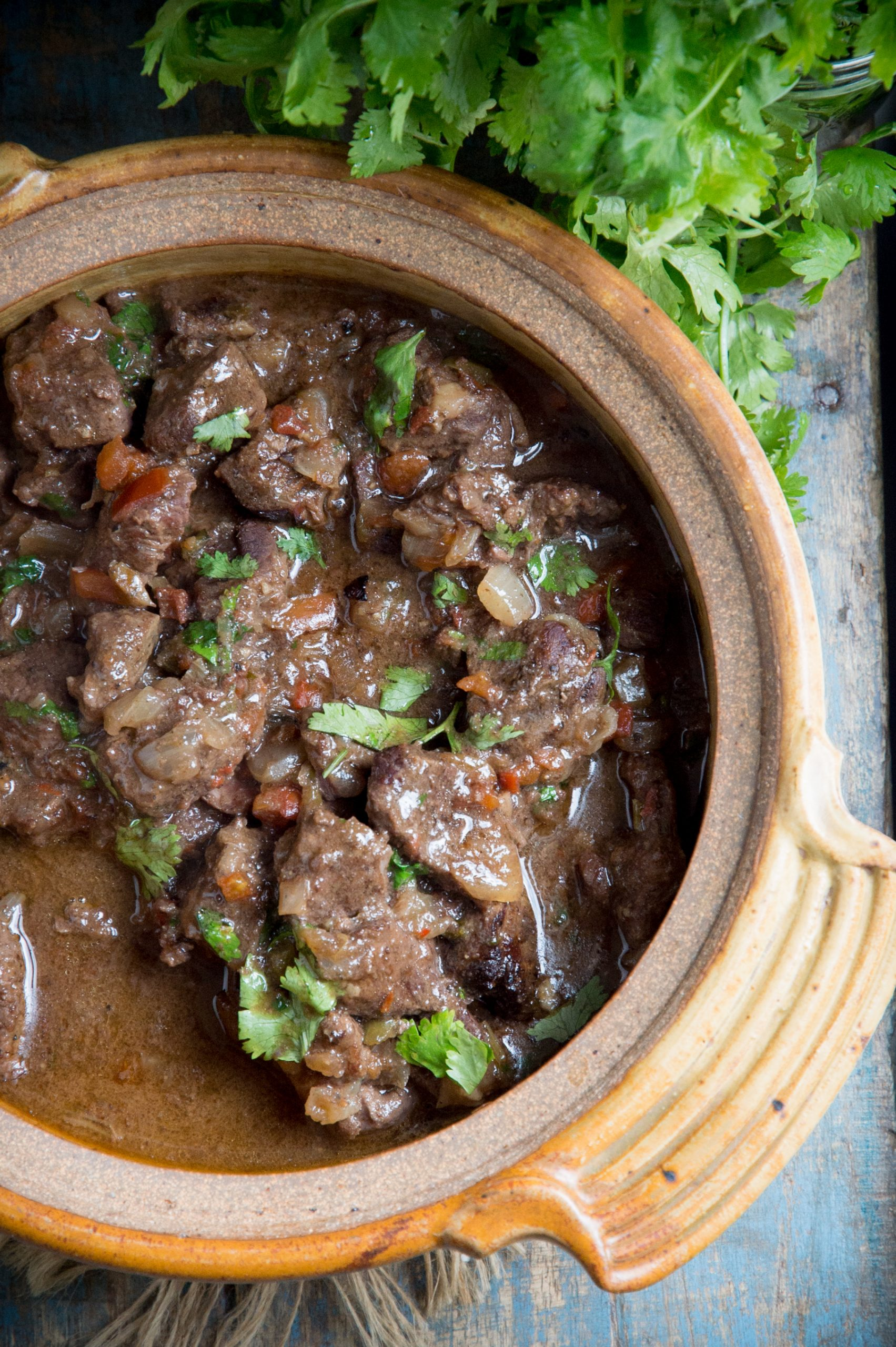 Low-Carb Slow Cooker Mexican Beef Stew-Served in a ceramic bowl.