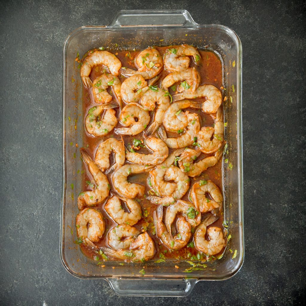 Overhead photo of Low-Carb Spicy Baked Shrimp after before baking in the oven.