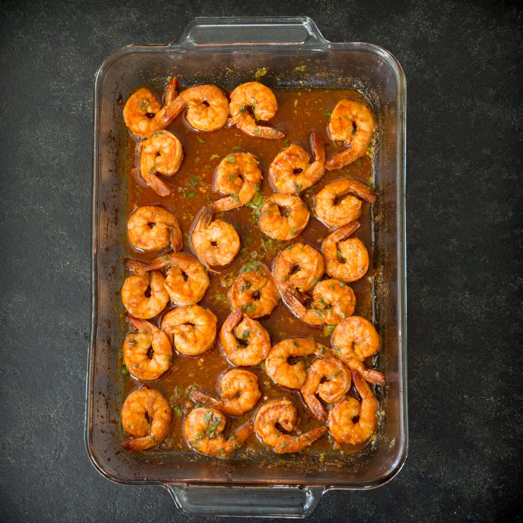 Overhead photo of Low-Carb Spicy Baked Shrimp after taking out of the oven.