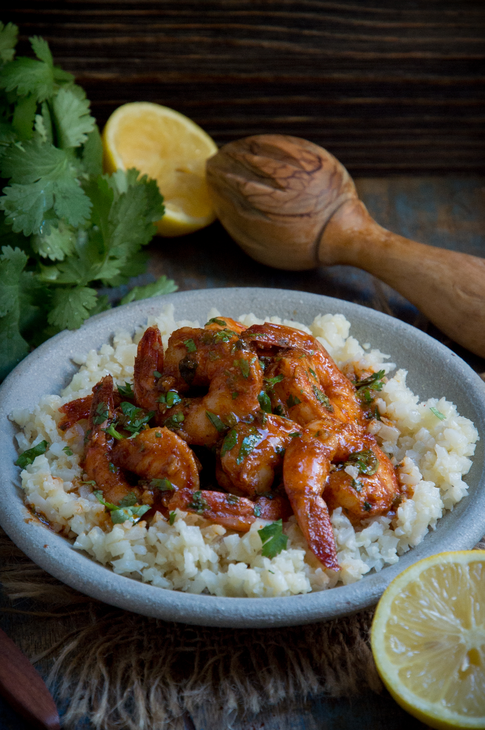 Low-Carb Spicy Baked Shrimp served over riced cauliflower