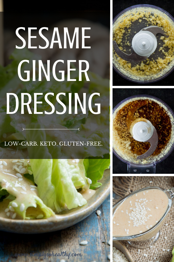 This recipe for Low-Carb Sesame Ginger Dressing makes a tangy salad dressing loaded with ginger and garlic goodness. This dressing can be a part of a low-carb, keto, Atkins, gluten-free, or sugar-free diet. #ketosaladdressing #lowcarbsaladdressing #gingerdressing