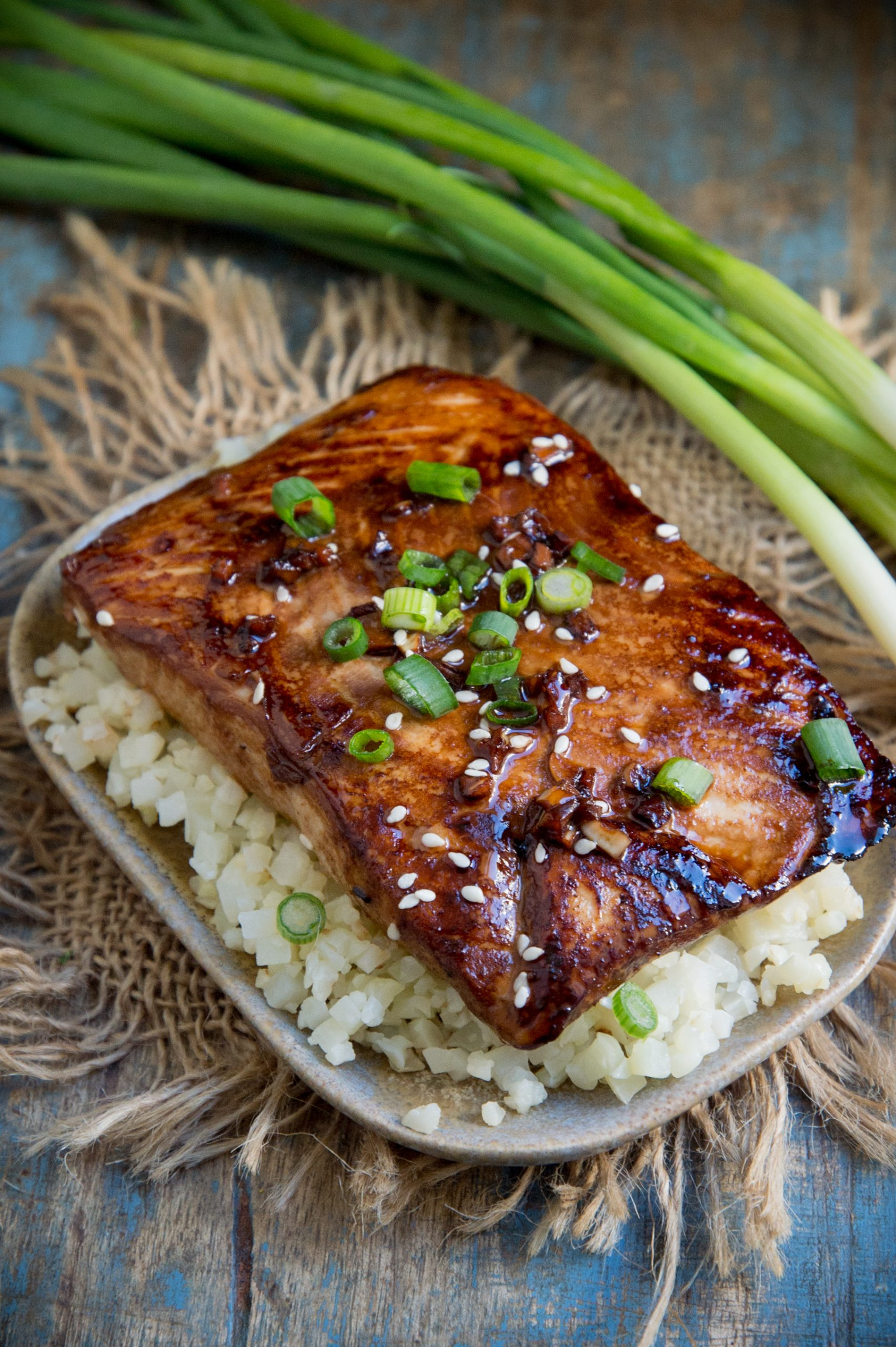 Teriyaki Salmon served on a bed of cauliflower rice