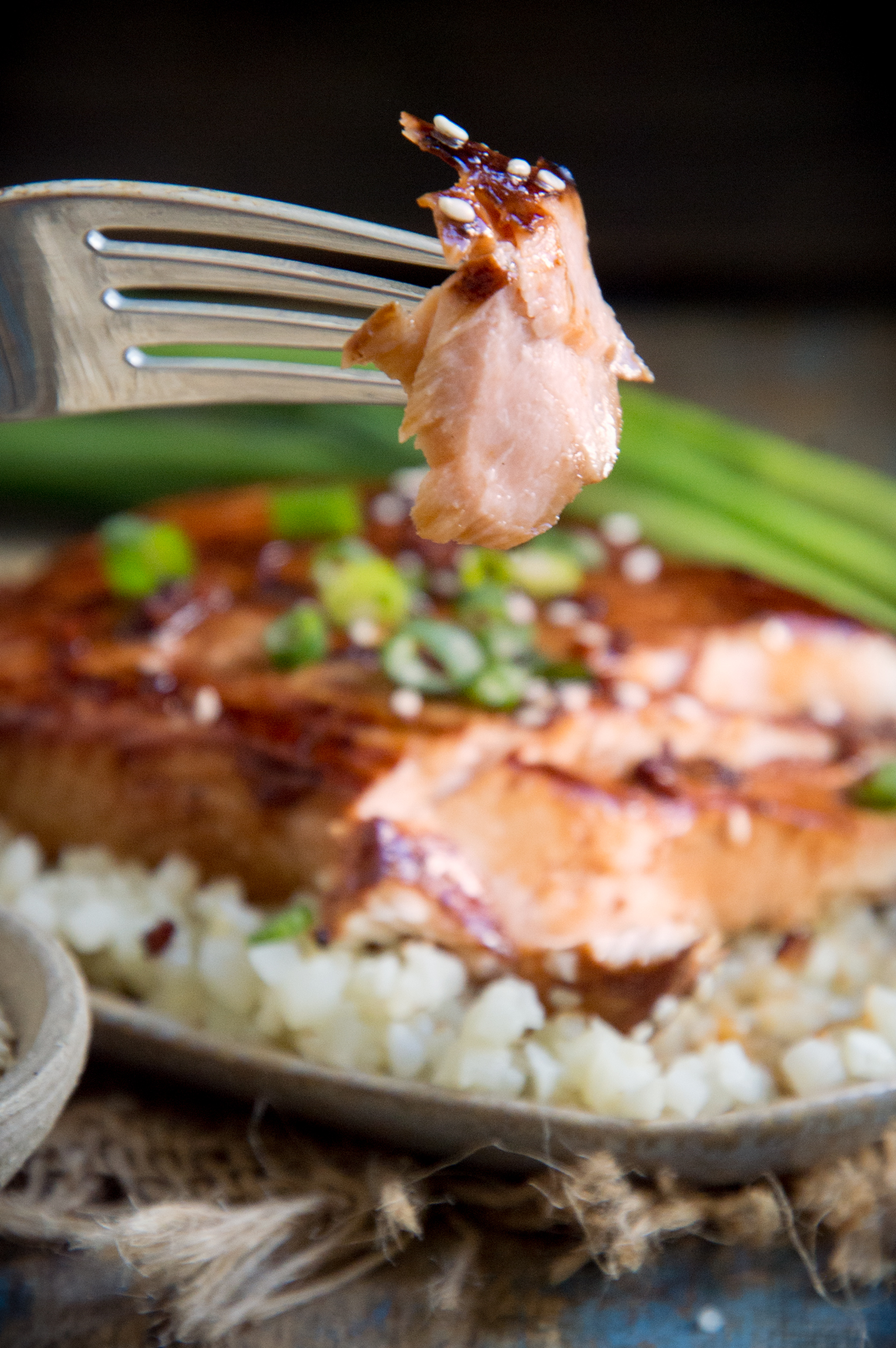Photo of Low-Carb Teriyaki Salmon (Keto-Friendly) on a fork
