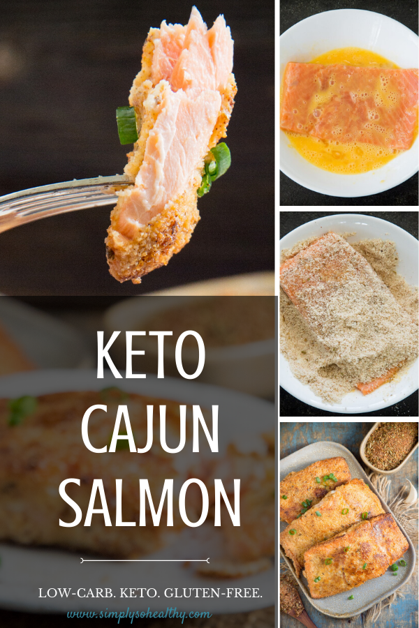 This Low-Carb Cajun Salmon recipe blankets tender pieces of salmon with a spicy Cajun crust. This easy recipe makes a perfect main course for dinner and is suitable for low-carb, keto, gluten-free, grain-free, and Paleo diets. #ketosalmon #ketoseafood #ketodinner #lowcarbmain