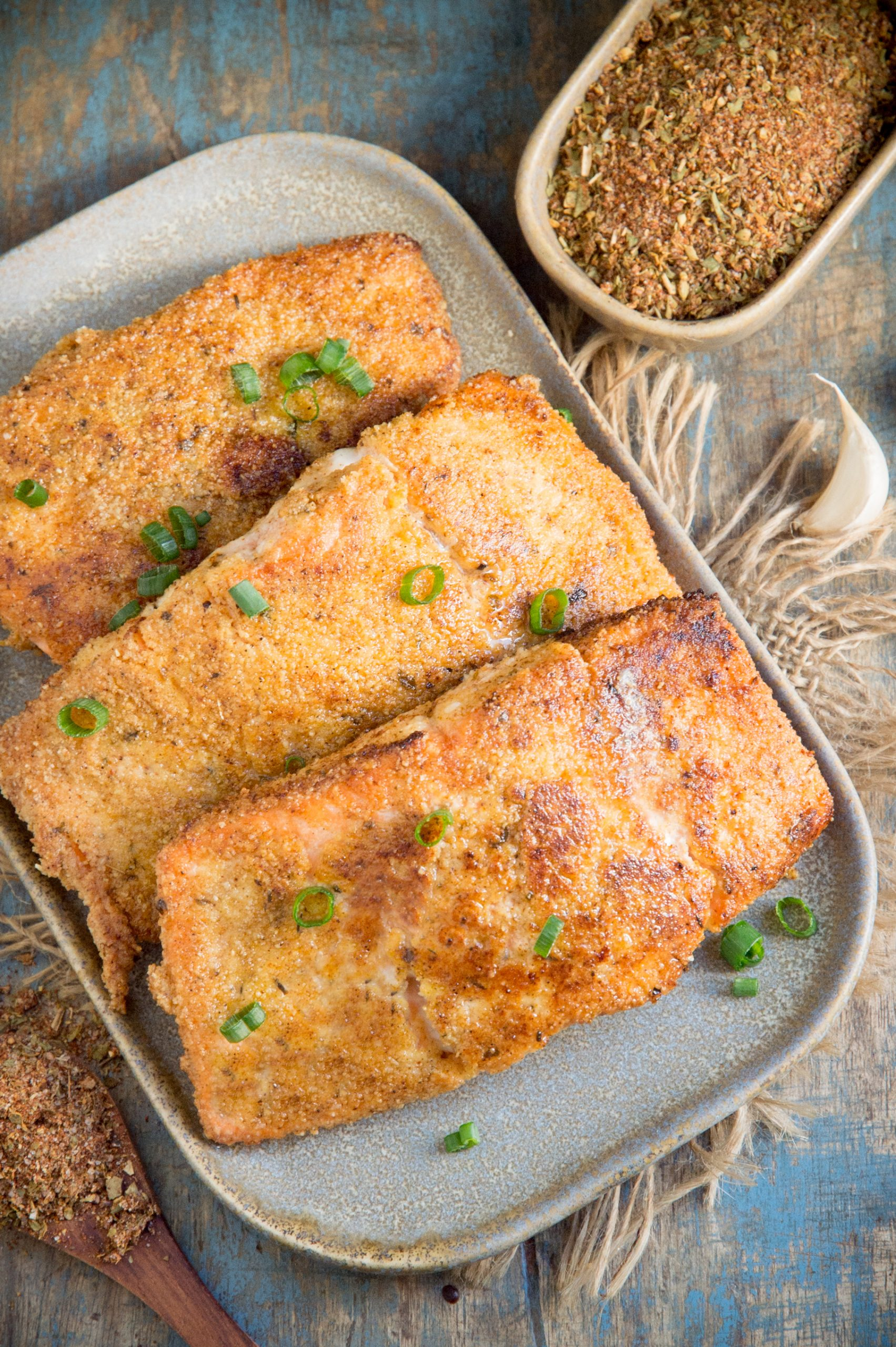Low-Carb Cajun Salmon -served on a platter.
