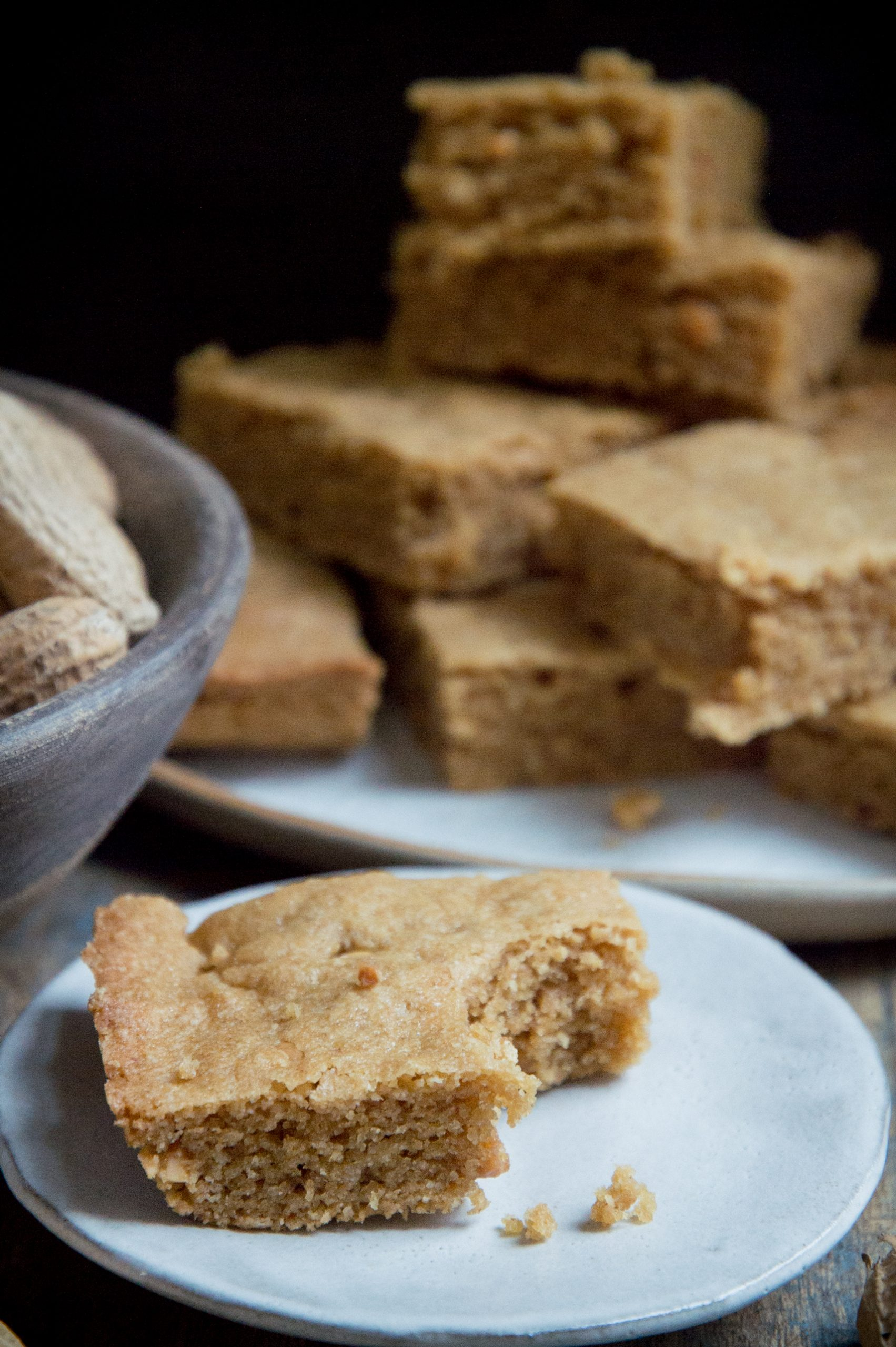 Low-Carb Peanut Butter Bars--bite shot
