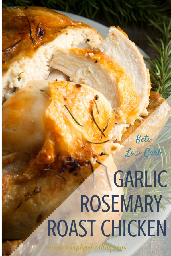 Cover photo of Garlic Rosemary Roasted Chicken with text