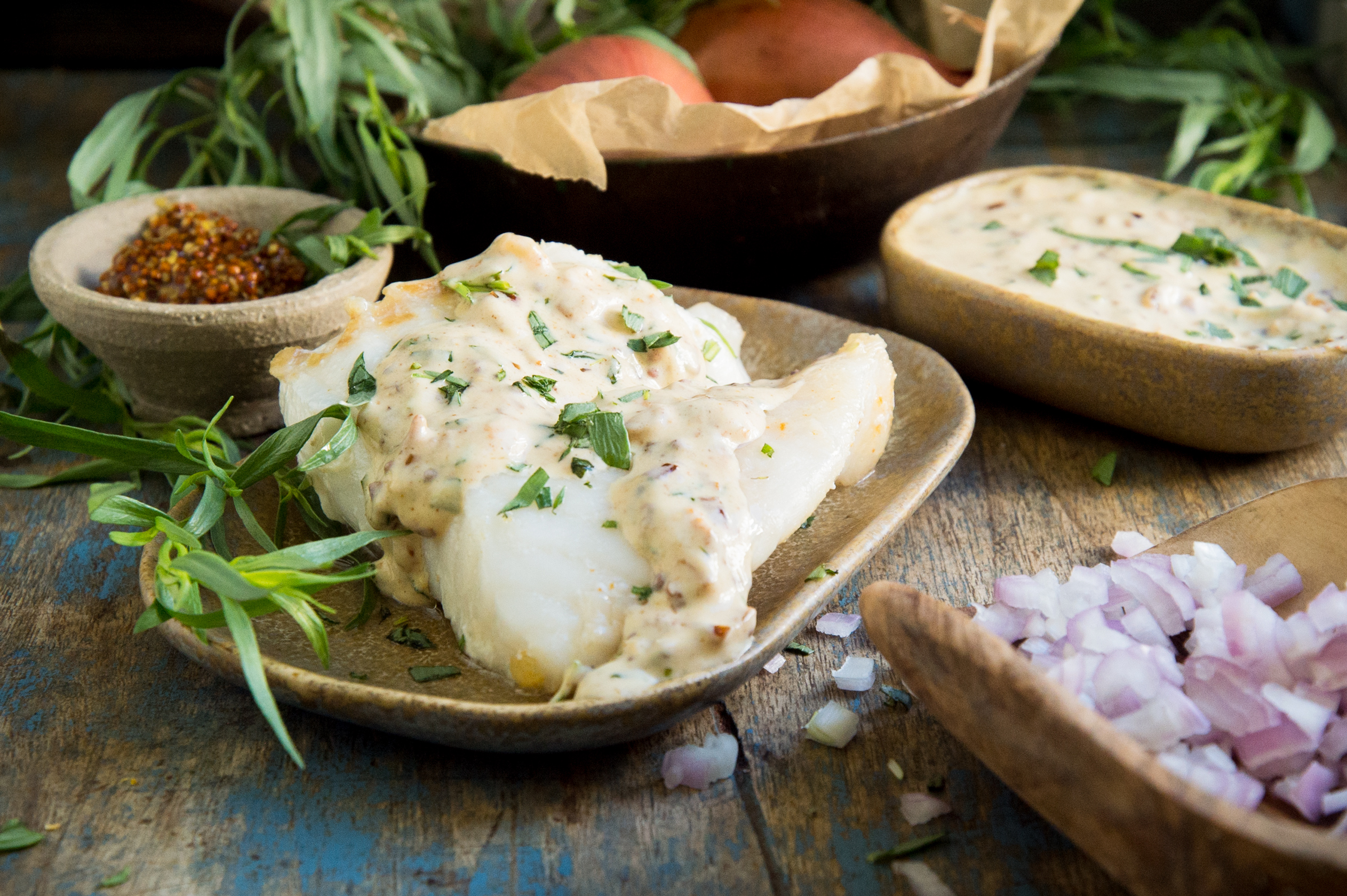 Sautéed Fish with Mustard Tarragon Cream Sauce