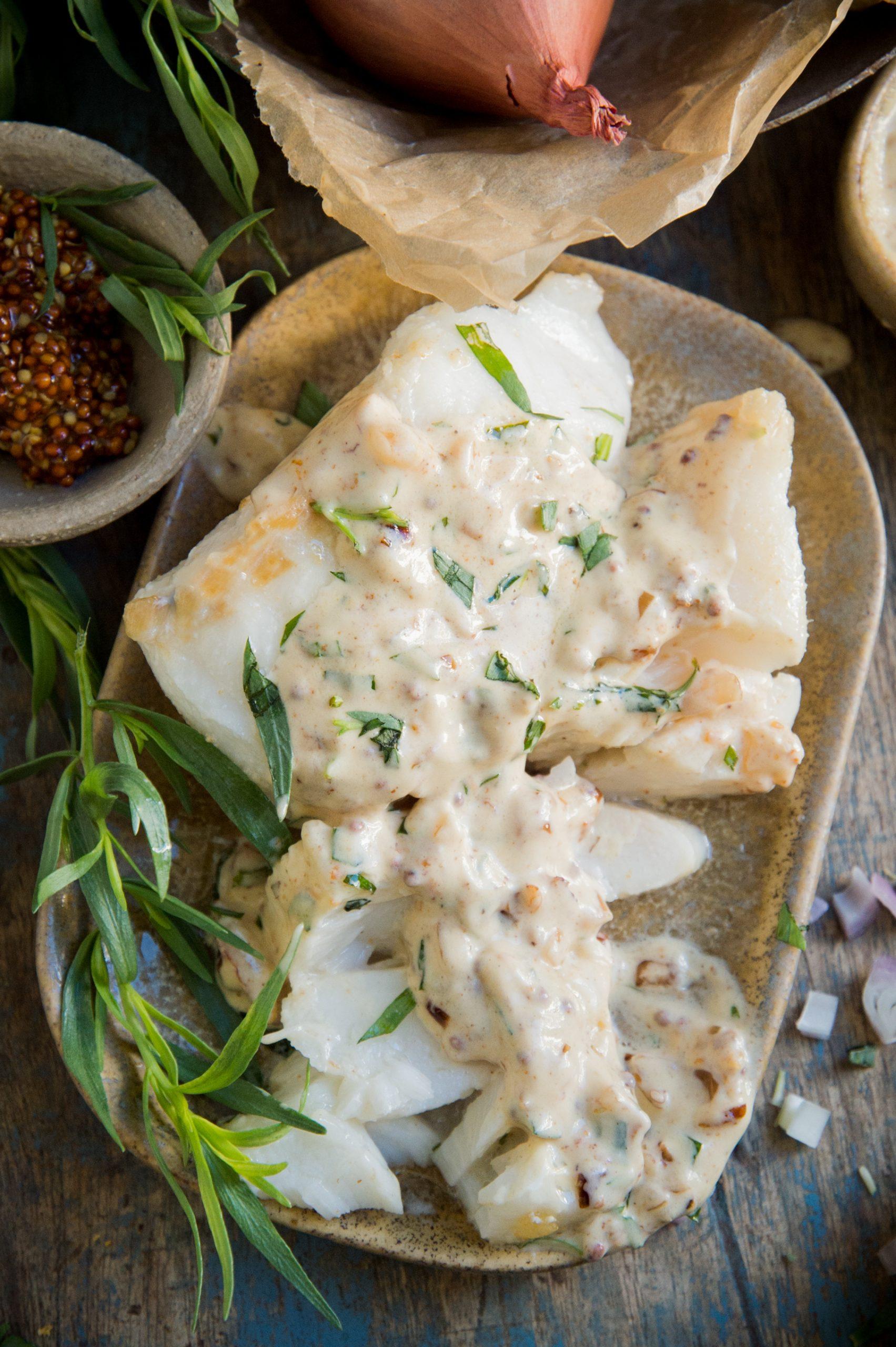 Sautéed Fish with Mustard Tarragon Cream Sauce-Overhead shot.
