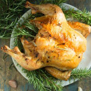 Overhead shot of garlic rosemary roasted chicken.