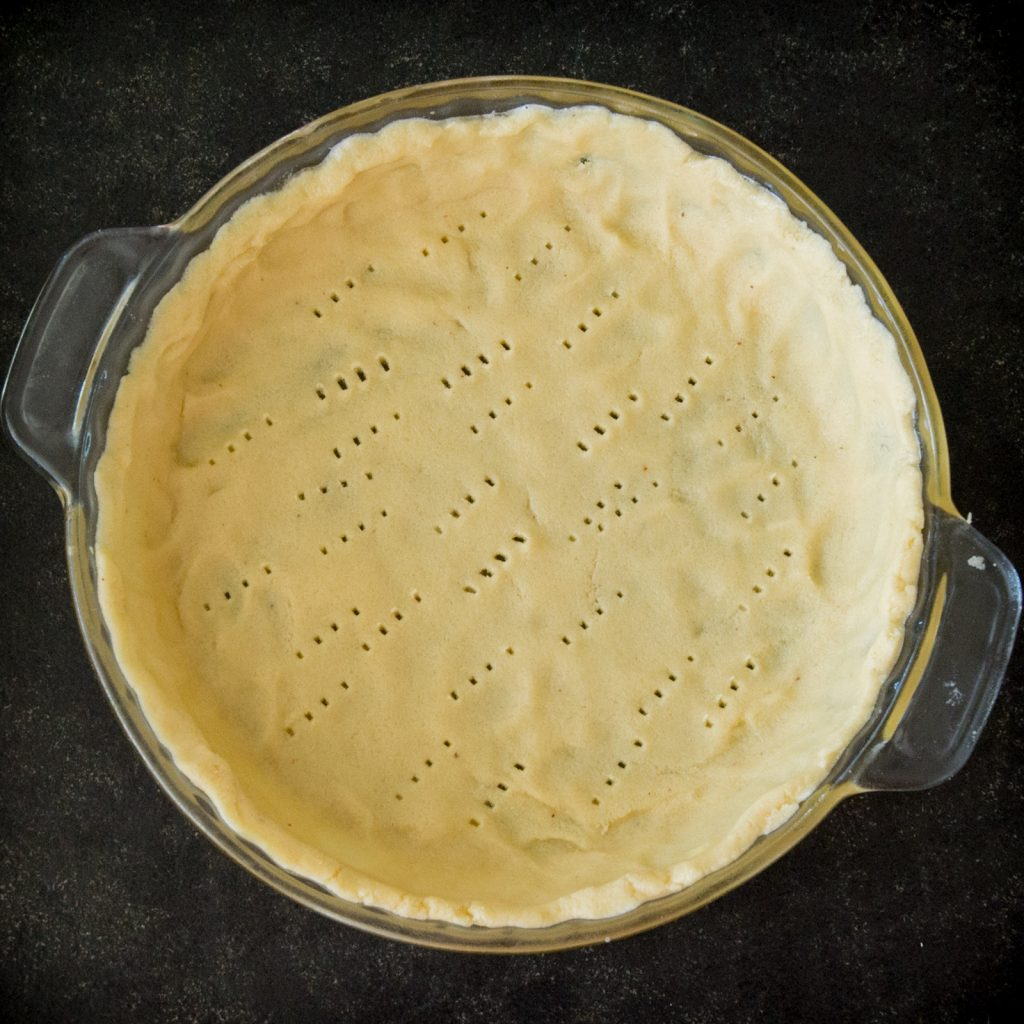 Overhead photo of pie crust.