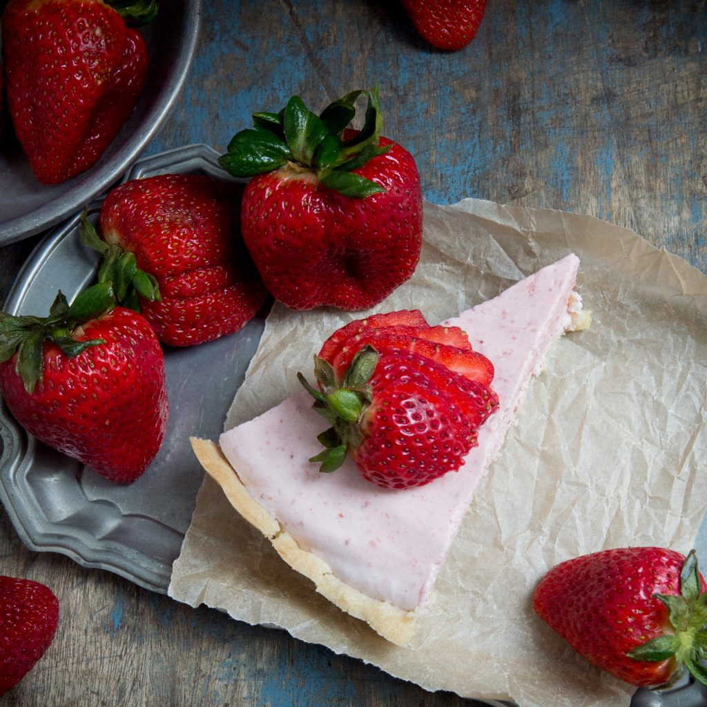A slice of keto strawberry cream pie.