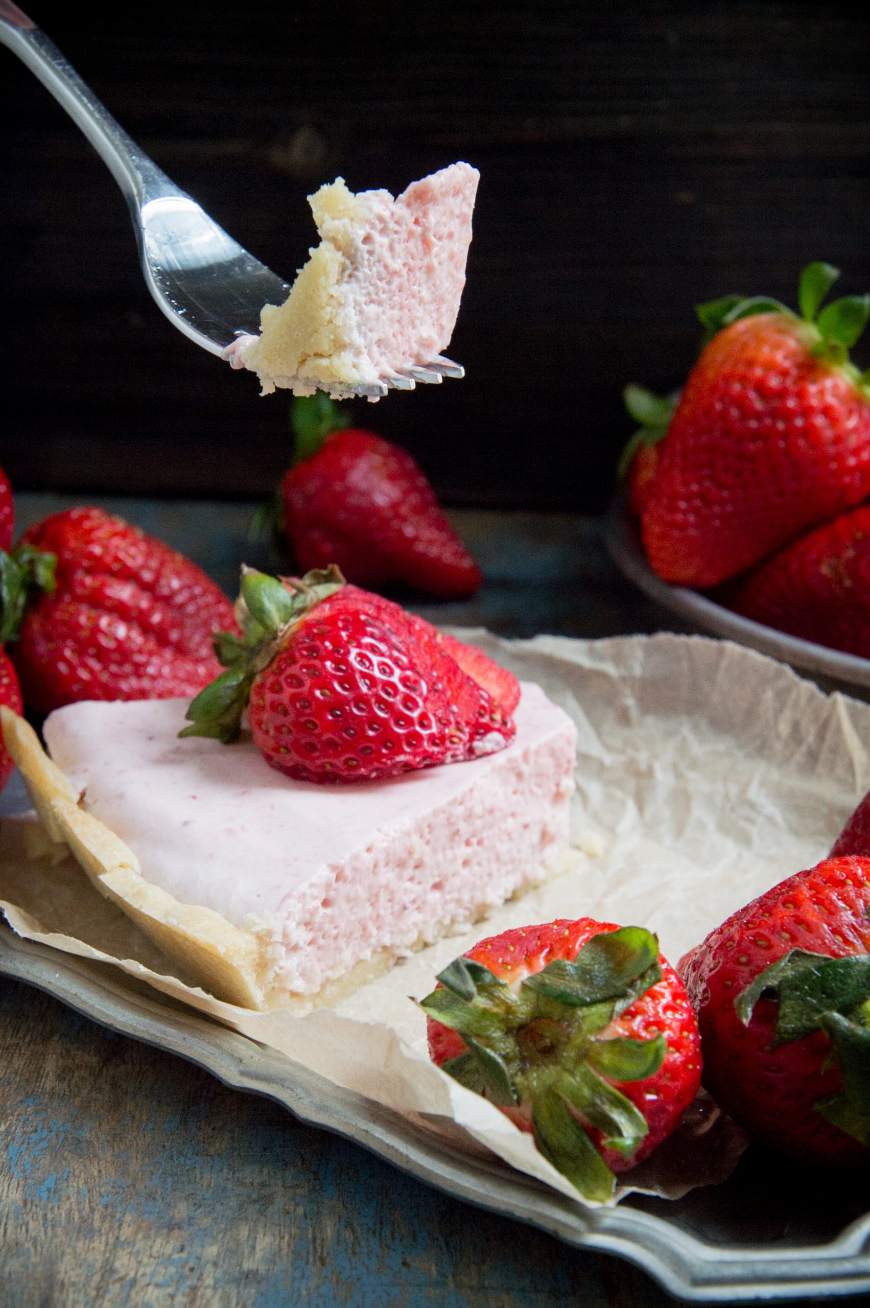 Keto Strawberry Cream Pie-bite shot.