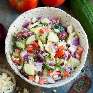 Overhead photo of Mediterranean Salad on a bowl.
