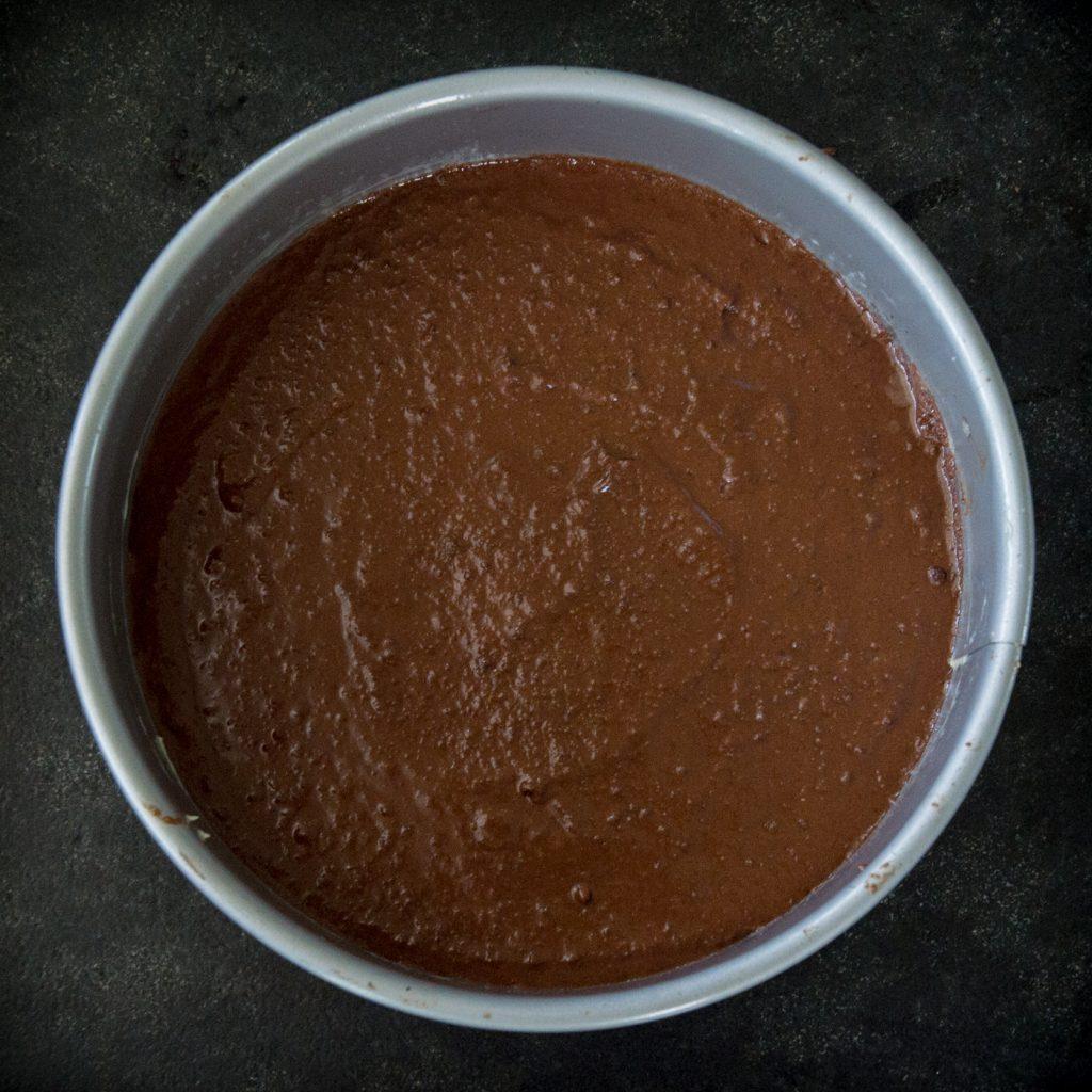 Cake batter in prepared pan.