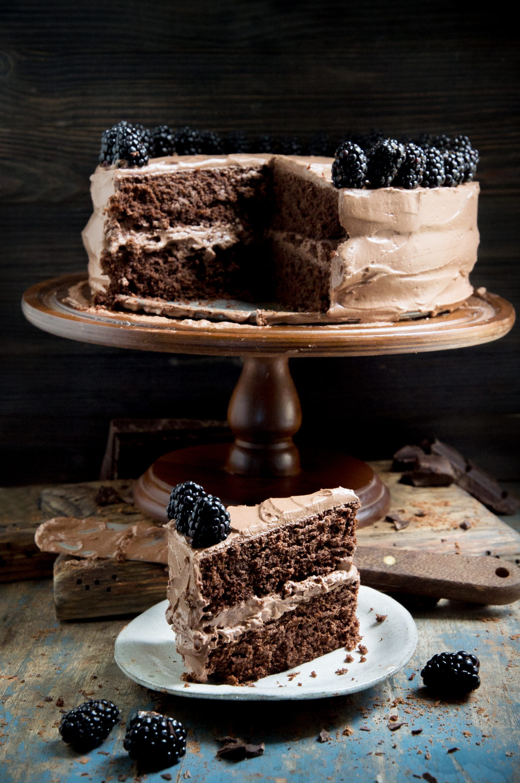 Slice of cake in front of whole cake