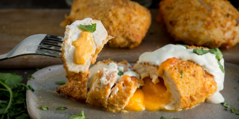 Taco Crusted Cheese Stuffed Chicken Breasts