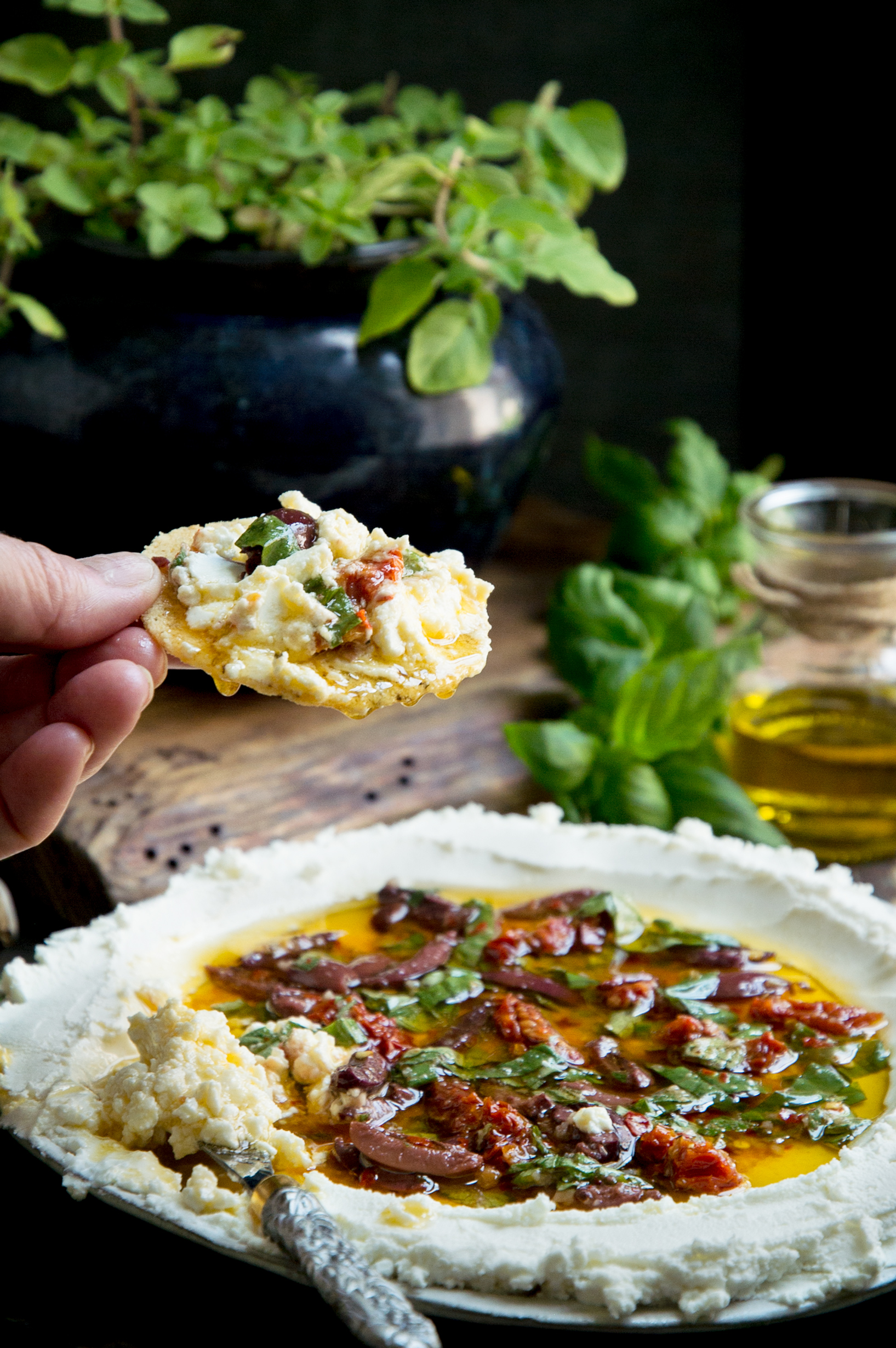Herbed goat cheese spread on a cracker