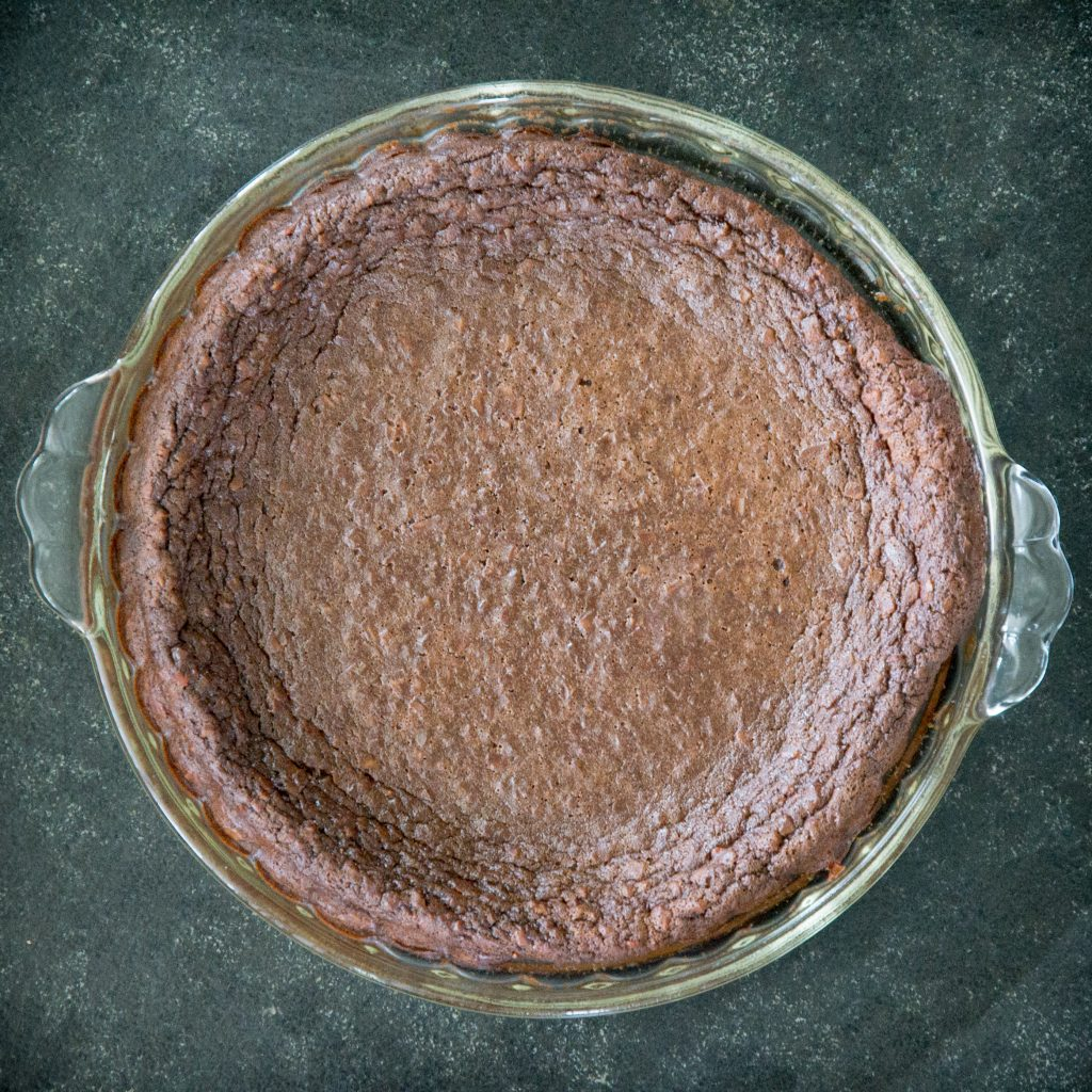 Keto Chocolate Coconut Pie, fresh from the oven.