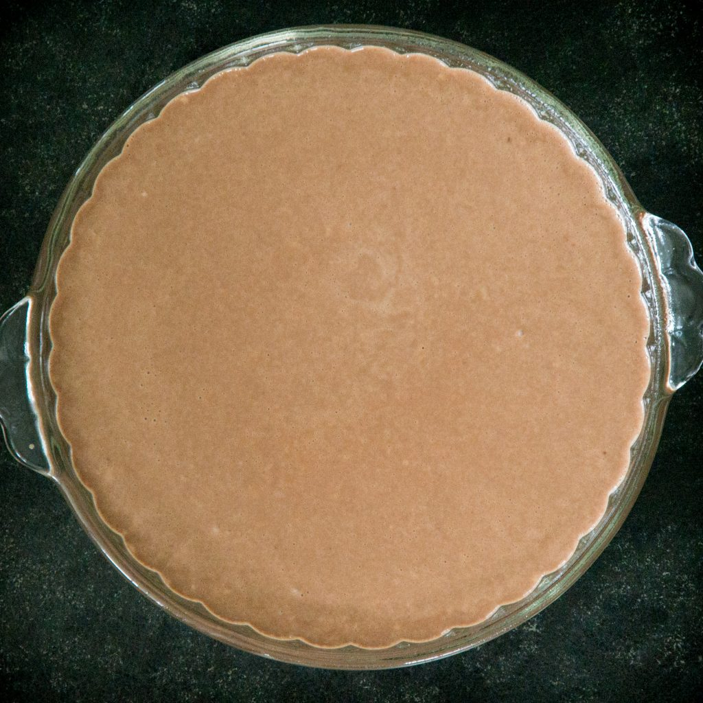 Keto Chocolate Coconut Pie ready for the oven.
