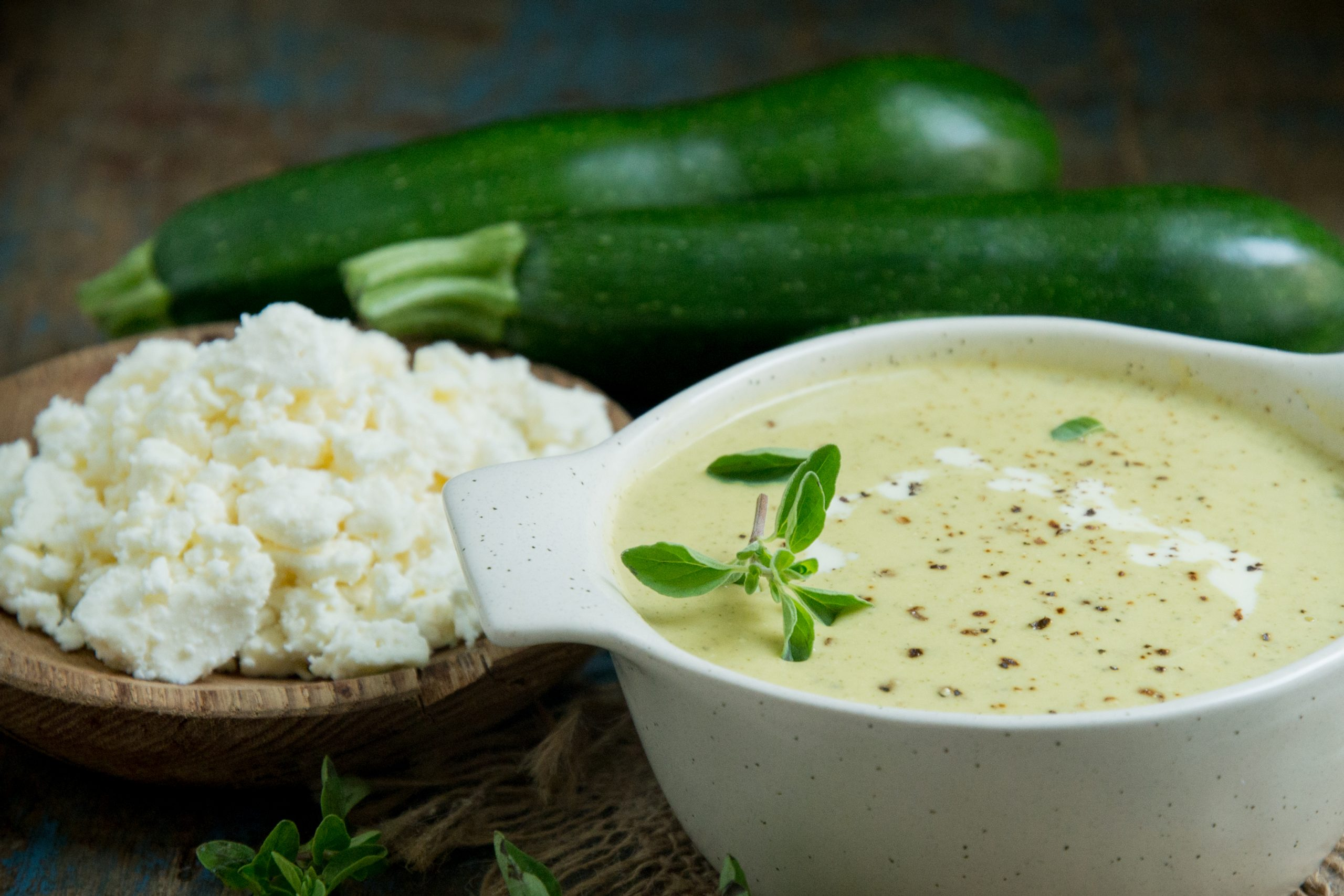 Cream of Zucchini soup with zucchini and feta