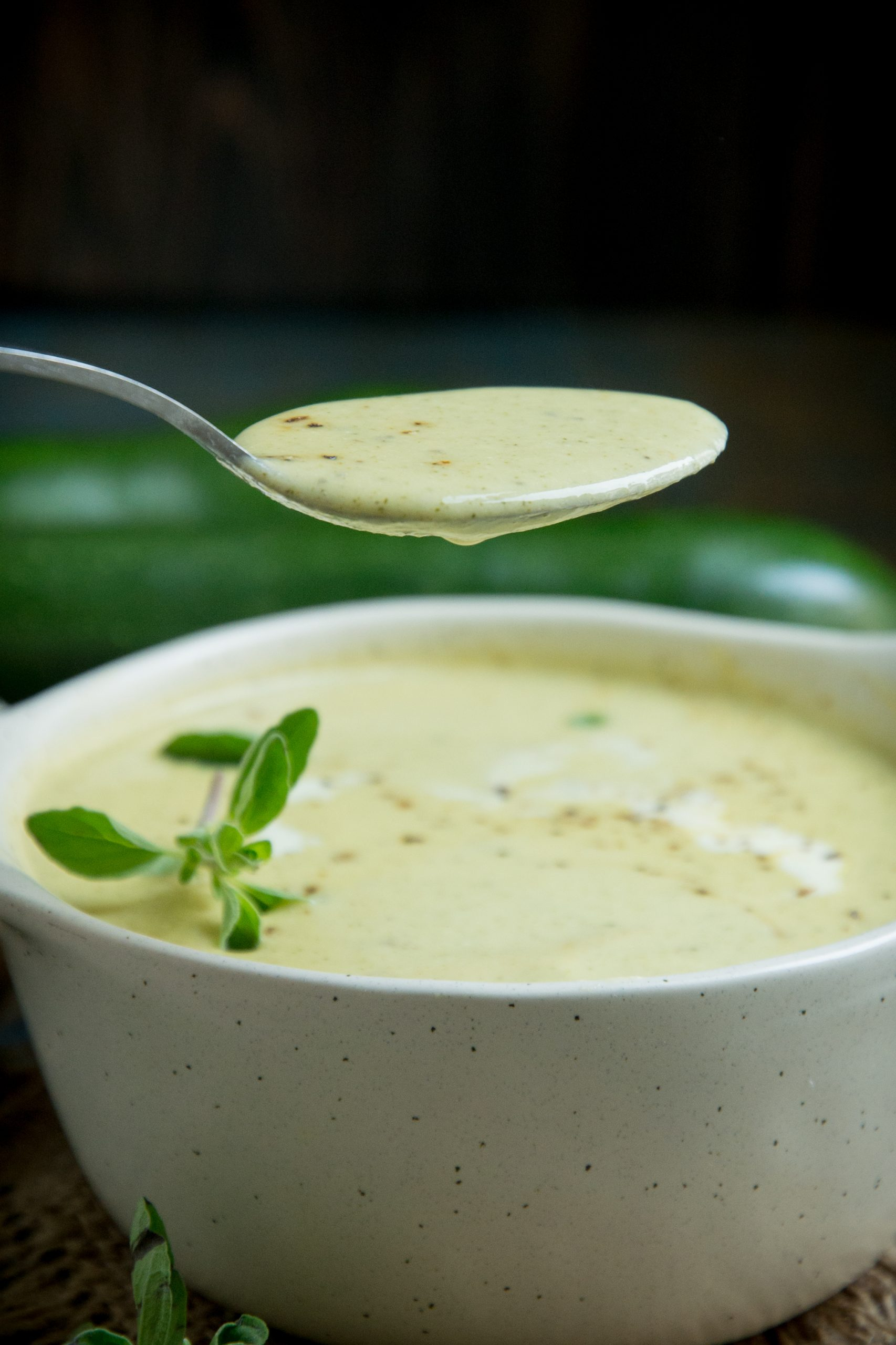 A spoonful of zucchini soup.