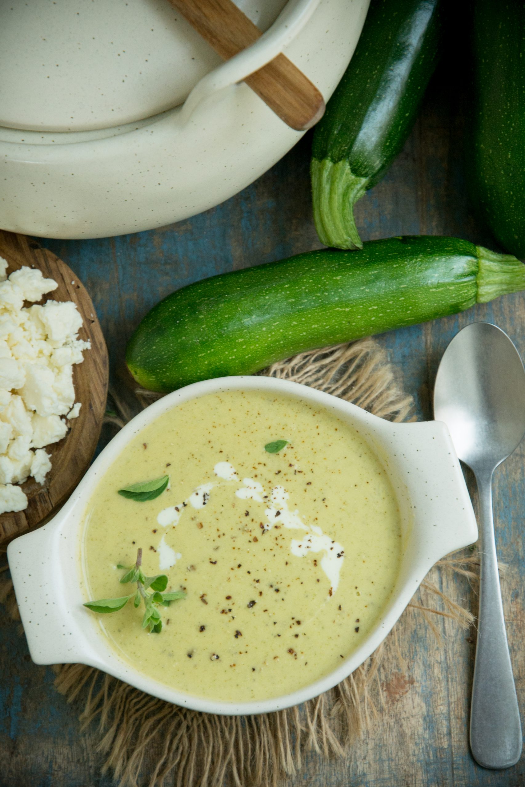 Overhead shot of zucchini soup