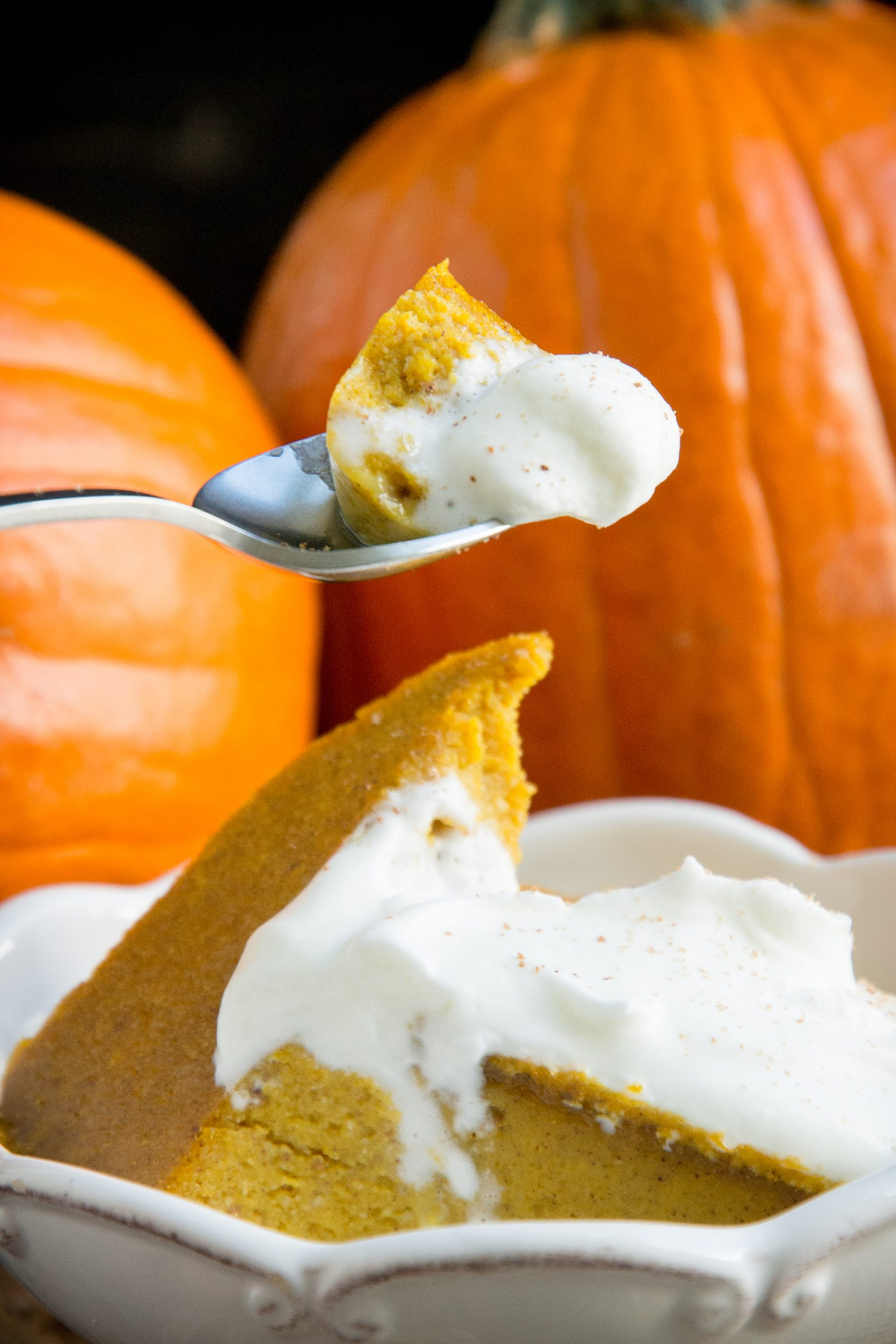 Taking a bite of the pumpkin custard.