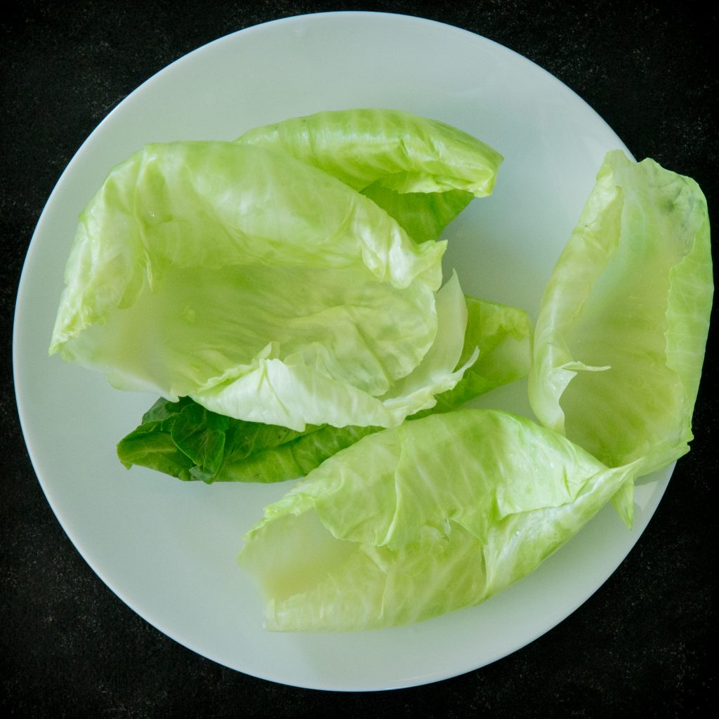 steamed cabbage leaves.