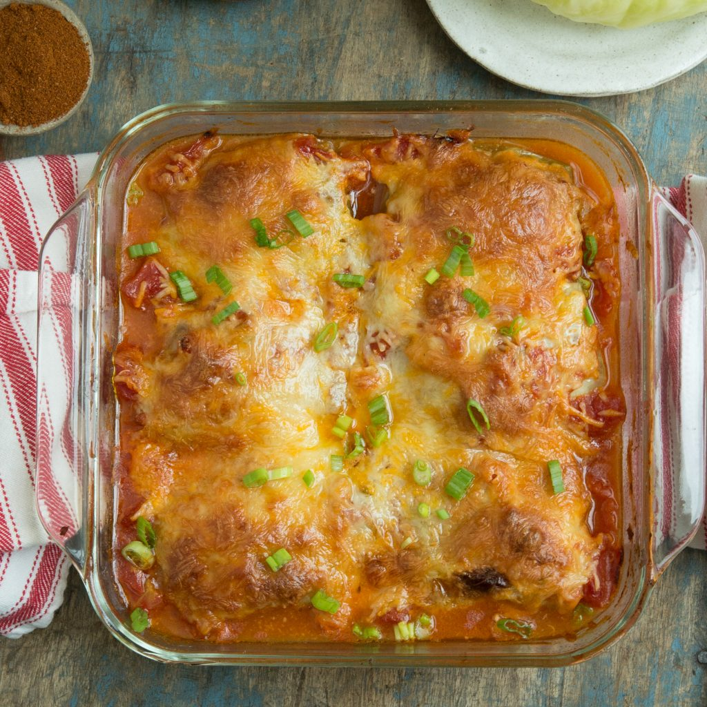Baked Mexican Stuffed Cabbage Rolls.