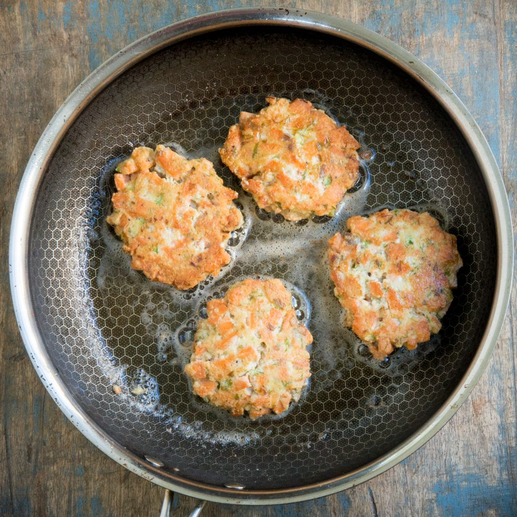 Salmon Cakes after flipping.