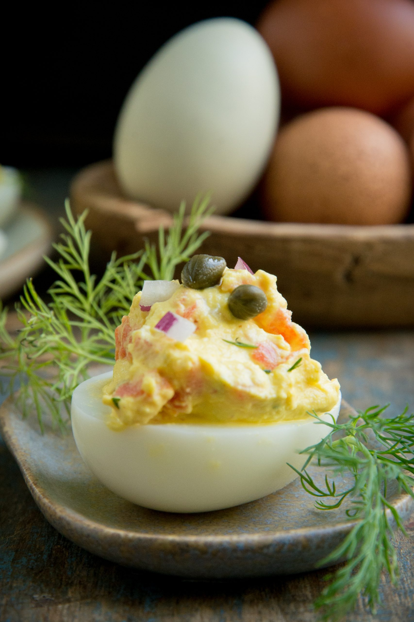 A single Smoked Salmon Deviled Egg.