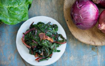 Wilted Chard with Bacon and Garlic